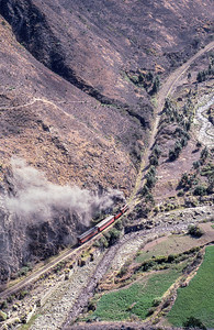 #17 heads toward Alausi on the lower portion of the Loop at Alausi.  View from the upper portion of the loop, over 300 feet above.