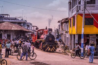 #17 rolls into down town Yaguachi.