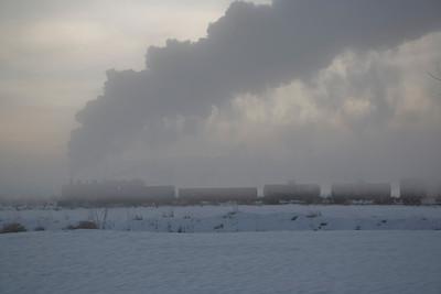 UP #618 in morning fog. February 2007