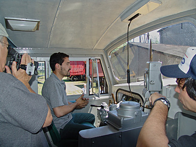 Engineer operates the Baldwin Shark Nose Diesel at the Ferroclub Argentino.