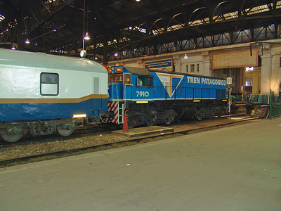 EMD G22CW  preparing our train in Constitucion Station.  It will be two days of broad gauge train travel from Buenos Aires to Jacabacci.