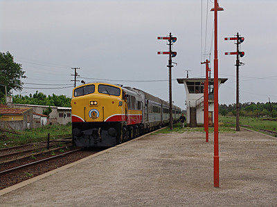Broad gauge passenger train arrives in Chascomus, 80 miles from Buenos Aires featuring Balwin Shark Nose Diesel locomotive.
