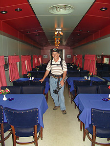 Williamghoat checking out the dining car.