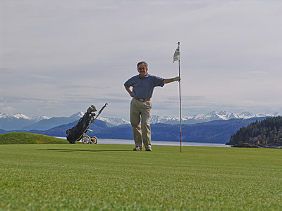Taking a break from the railroad. I played 36 holes at Llao Llao Resort outside Bariloche. Beautiful setting with lakes and the Andes in the background.  Golf Pro was from Missouri.
