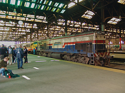 Preparing our day trip with Baldwin Shark Nose Diesel in Constitucion Station.