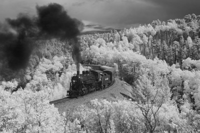 SL&RG #18 heading back from La Veta, Colorado October 2008 Digital Infrared