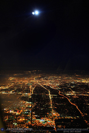 Arial view of Columbus, Ohio at night with moon (© James D. DeCamp | http://www.JamesDeCamp.com | 614-367-6366)