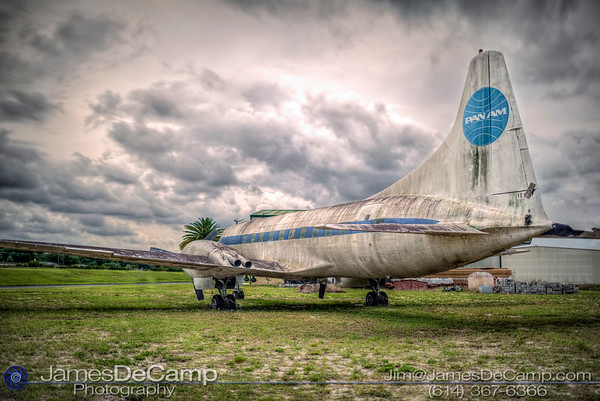 """A Pan Am Convair 240 photographed Tuesday May 17, 2016 at the Orlando-Apopka Airport (X04). Pan American World Airways (Pan Am) Convair CV-240-0 N1022C (cn 147) This aircraft flew for American, Mohawk and Trans Florida Airlines and was to be displayed at the US Airline Industry Museum.(© James D. DeCamp 