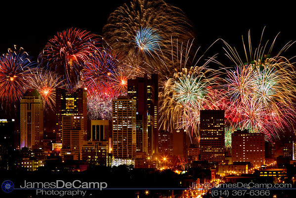 The 2012 Red, White & Boom fireworks display photographed from on top of the Ohio State University East Hospital Heliport July 3, 2012.   (© James D. DeCamp   http://www.JamesDeCamp.com   614-367-6366)