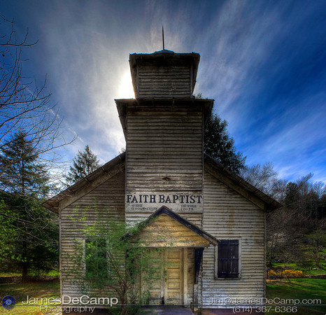 The Faith Baptist Church near Zada, West Virginia, photographed in HDR Wednesday afternoon April 7, 2010. (© James D. DeCamp | http://www.JamesDeCamp.com | 614-367-6366)