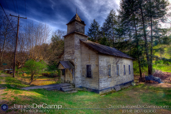 The Faith Baptist Church near Zada, West Virginia, photographed in HDR Wednesday afternoon April 7, 2010 using HDR imaging techniques. (© James D. DeCamp | http://www.JamesDeCamp.com | 614-367-6366)