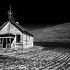 Abandoned School house in black and white