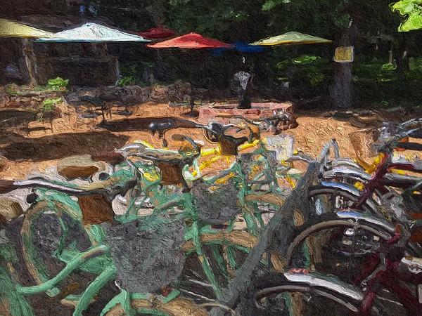 Bicycles and 'brellas