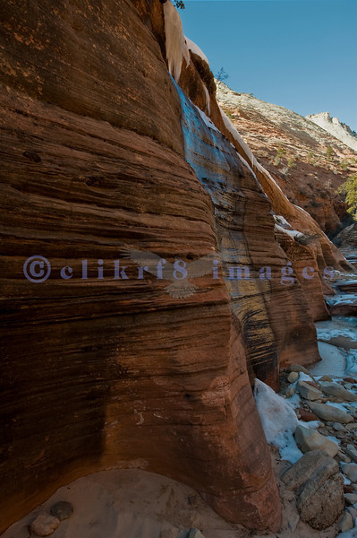 Just a short walk from a small parking area along Highway 9, a small canyon with some frozen water provided over an hour of shooting opportunities.