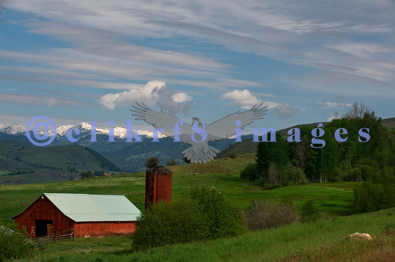 This farm is now a state conservation area. It can be found on the road to Pearrygin Lake near Winthrop. The next morning the clouds broke and revealed the Cascade range covered with snow
