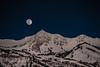Snowbasin,  Natural moonlight, looking towards Ogden bowl, John Paul face and lodge
