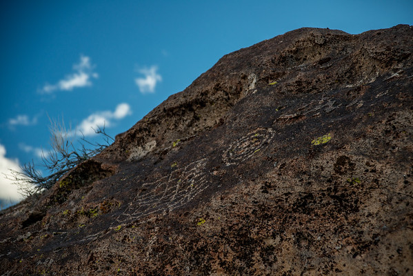 "Petroglyphs are found world-wide, and are often associated with prehistoric peoples. The word Petroglyphs comes from the Greek words petro meaning ""stone"", and glyphein meaning ""to carve""."