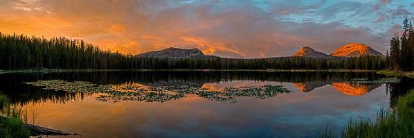 sunset pano teapot lake