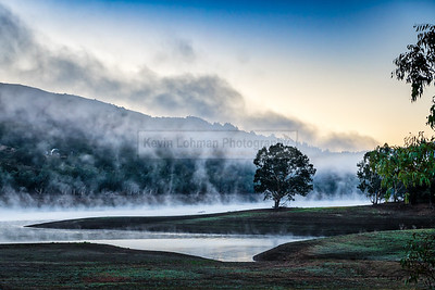 Mist on the Water and Hills of Lexington Reservoir