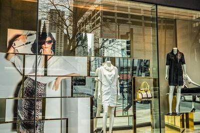 North American, Chicago Illinois.  Store window display on Michigan Avenue