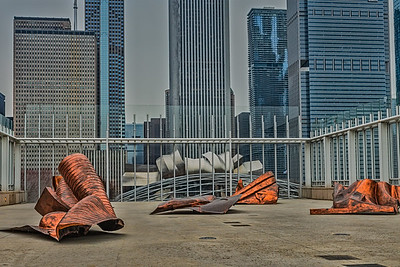 North American, Chicago Illinois.  View of downtown Chicago from Renzo-Piano Vista at the Art Institute.