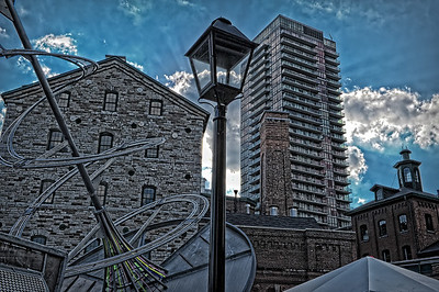 North America, Canada, Toronto. View of the historic Distillery District buildings.