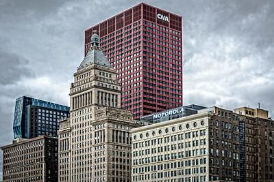 USA, Chicago, ILL. Cityscape of skyscrapers.