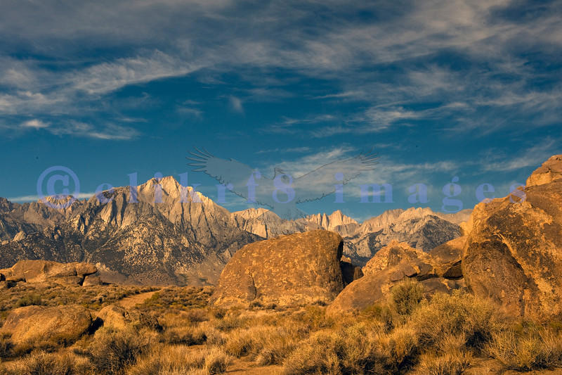 Hollywood filmed many movies and Western TV shows in the Alabama Hills, large strangely shaped boulders strewn between the Sierra Nevada Range and the high desert of the Owens Valley.
