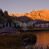 Most people drive right by many of the roads that wind their way into the Eastern Sierra Nevada Range on their way to Mammoth or Yosemite. Just west of Bishop is an alpine lakes area where you can drive right to North lake, Sabrina Lake and South Lake. We were on the road in the dark early morning to catch the alpen glow reflected in North lake. We were there just before the fishermen angling for trout along the far shore.