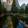 Ah, Yosemite. I am so glad that John Muir and others prevailed and made this area one of the nation's earliest national parks. The sad part is that it attracts people worldwide who love it to death. This is an early morning view from  El Capitan Bridge in Yosemite Valley of Cathedral Spires reflected in the still waters of the Merced River.
