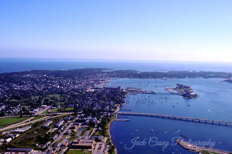 Wider view of Newport with harbor and Goat Island
