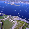 Fort Adams (foreground) with Goat Island across the Newport Harbor