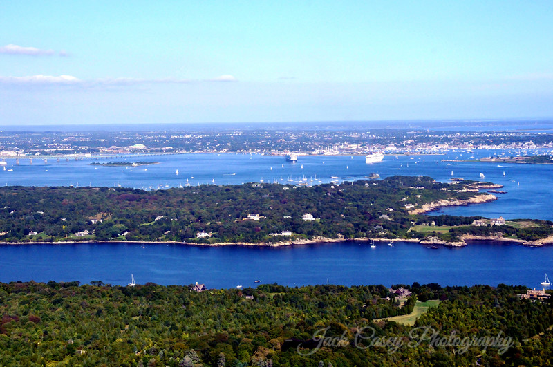 Facing east from South Kingstown to Jamestown and Newport in the distance