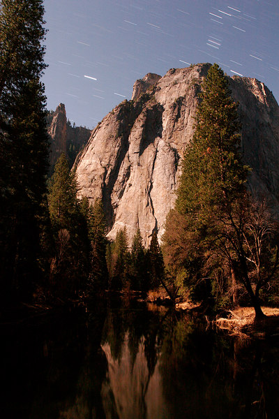 Cathedral Rocks Reflected at Night, Yosemite NP<br /> (California, 2006)