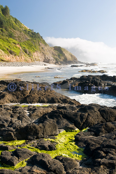 Smelt Sands State Recreation Site is on the Central Oregon Coast just north of Yachats. Black rocks and surf collide on this beach making for scenic landscapes.