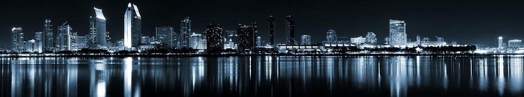 The San Diego Skyline in duotone