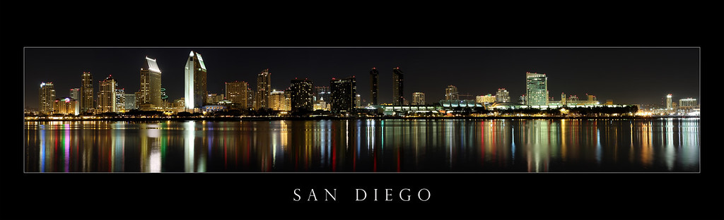 The San Diego Skyline with border and title