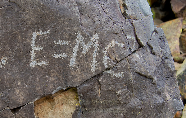 The only grafiti in Little Petroglyph Canyon.  After all, it is a military reservation that likely contains nuclear weapons.