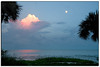 Sunset and moonrise at Cedar Key, Florida