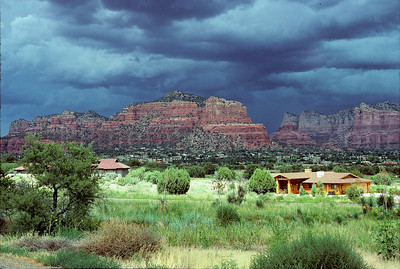 Sedona's Village of Oak Creek about to be assaulted by a severe thunderstorm during monsoon season.