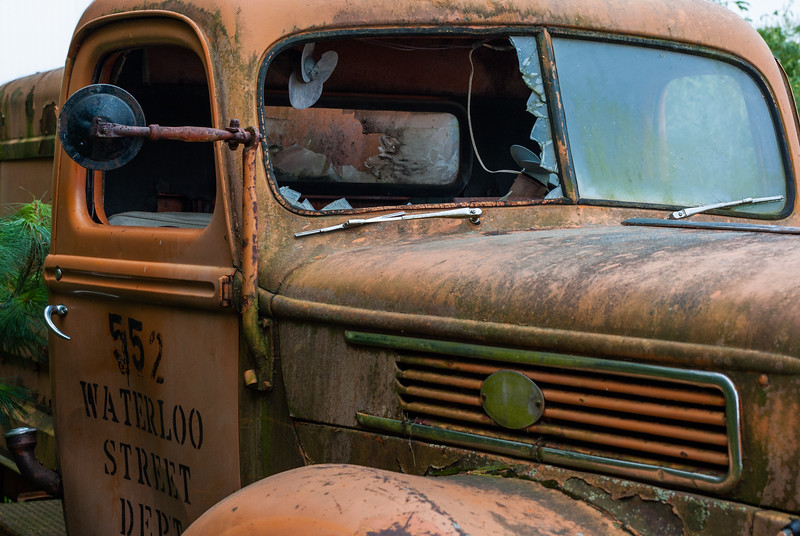 This is an abandoned truck found in rural eastern Iowa. I really like the interesting textures of this photo, from the flaking paint, rust and residues on the fender, to the broken out window, to the vent/grill in the side of the hood.