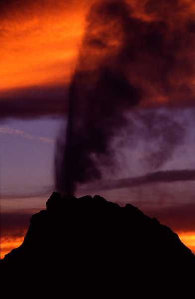 White Dome Geyser at Sunset, Yellowstone NP<br /> (Wyoming, 2003)