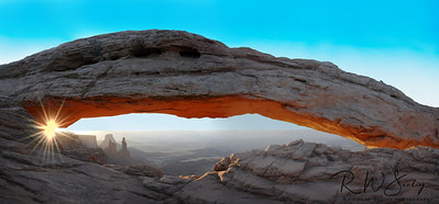 Mesa Arch With Sunrise Glow and Washer Woman