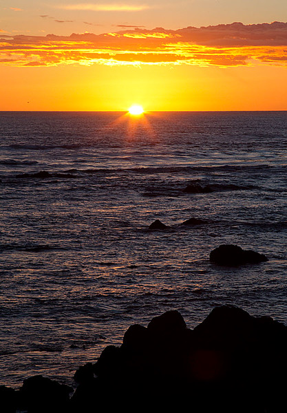 Sun About to Set over Pacific