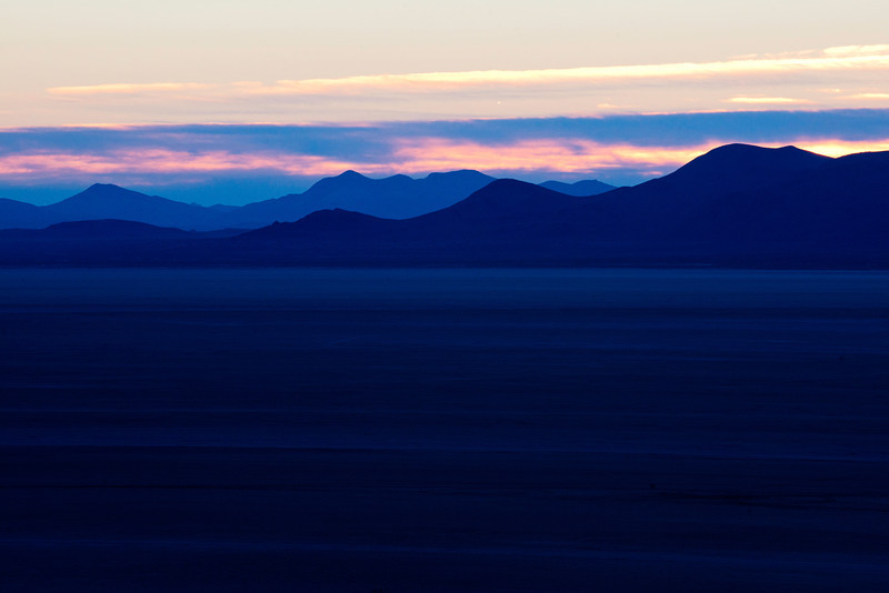 Early morning sunrise overlooking Black Desert Playa from Soldier Meadow Road near Gerlach, Nevada on October 8, 2013.