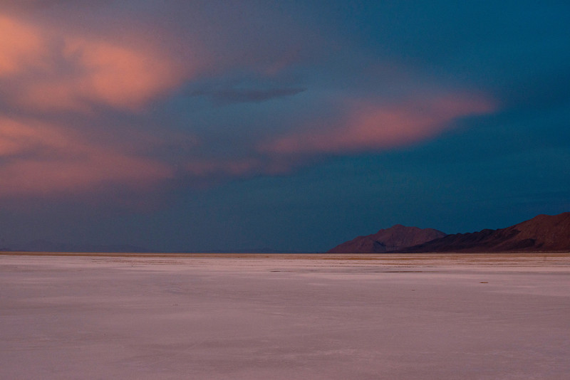Surreal lighting during a sunset storm looking across Black Desert Playa near Gerlach, Nevada off Highway 34 on October 7, 2013.