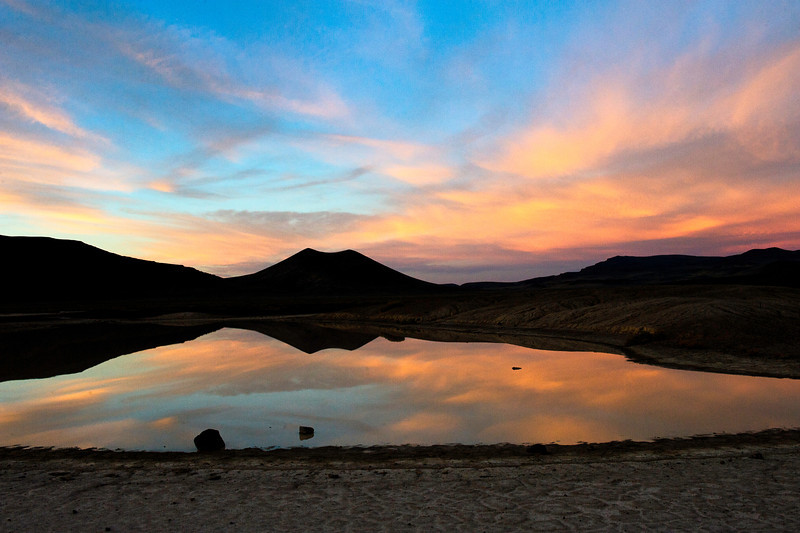 Early morning on Lunar Lake in the Crater National Natural Landmark near Warm Springs, Nevada off Highway 6 on October 2, 2013.