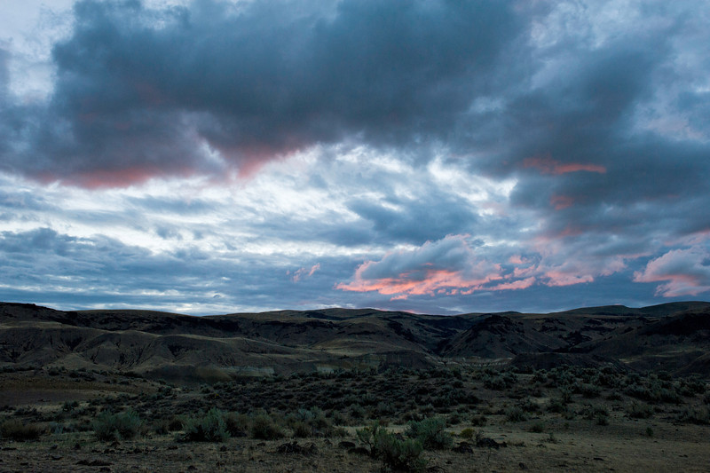 Succor Creek State Natural Area north of Jordan Valley, Oregon during the sunrise after a very winding night storm on September 21, 2013.