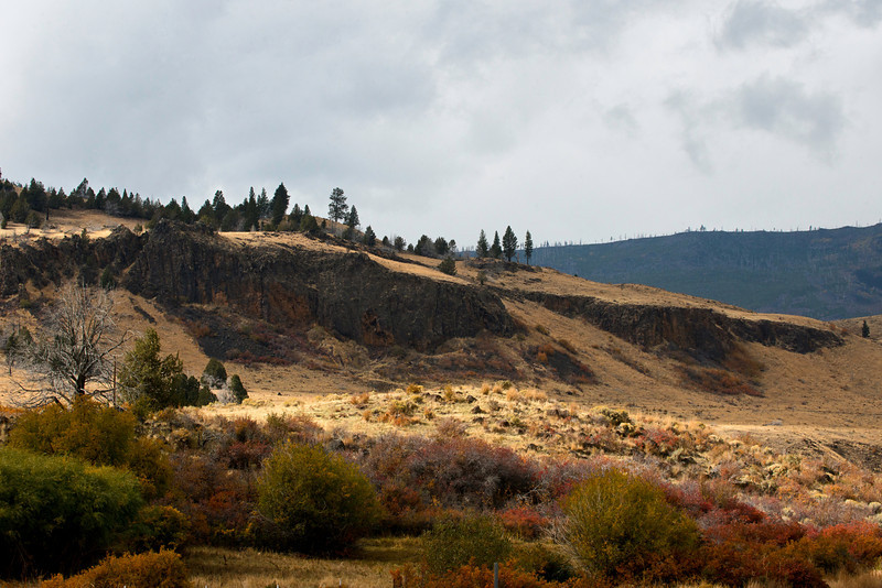 Along Oregon's Highway 31 or the Fremont Highway along Summer Lake north of the very small town of Paisley and south of the Summer Lake Resort settlement during an afternoon storm  on October 12, 2013.
