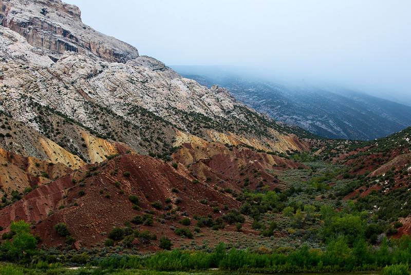Overlooking Split Mountain from the road to the group campground in Dinosaur National Monument during overcast mid afternoon September 26, 2013.